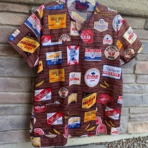 MNJ Brown Scrubs Top With Beer Logos Size XXL